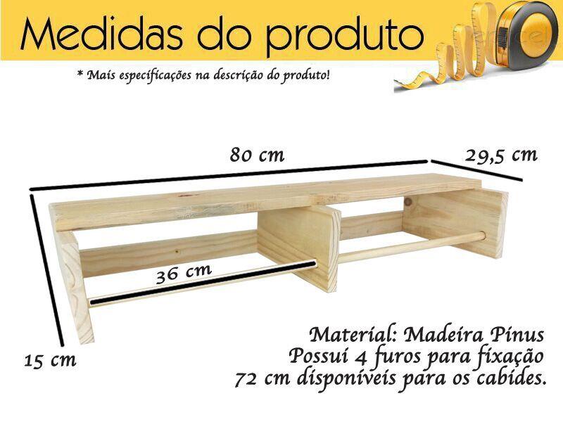 Cabideiros Cabide De Parede Em Madeira Pinus 2 Unidades