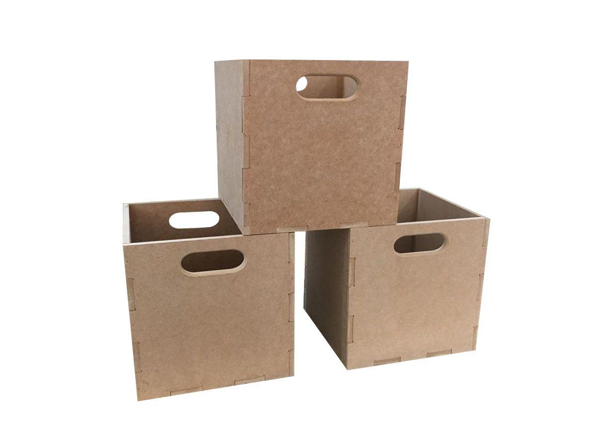Caixa Para Documentos Em Mdf 3 Peças Quadrado Box