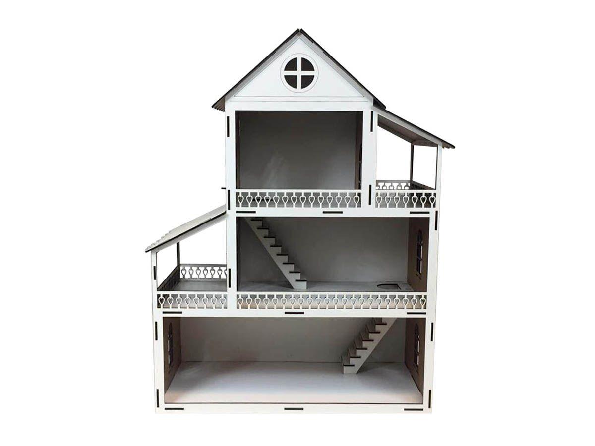 Casa de Boneca em Mdf Branco 60 cm
