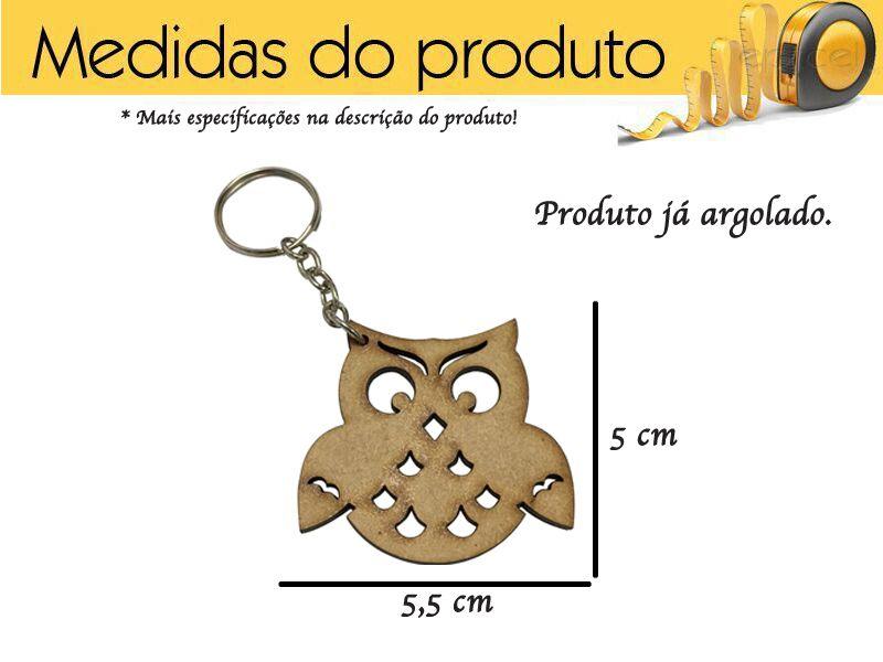 Chaveiro de Coruja Mdf Lembrancinha Kit 5 Peças
