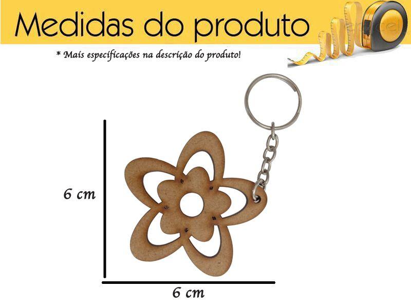 Chaveiro de Flor Mdf Lembrancinha Kit 5 Peças