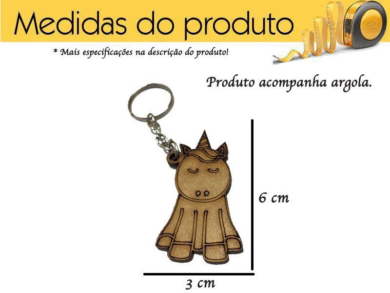 Chaveiro de Unicórnio Mdf Lembrancinha Kit 10 Peças