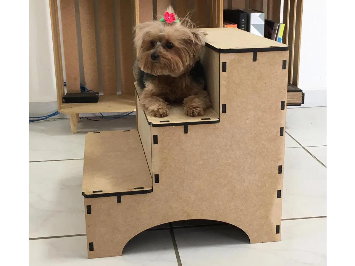 Escada Cães Cachorro Subir no Sofá Cama Box Pet em Mdf