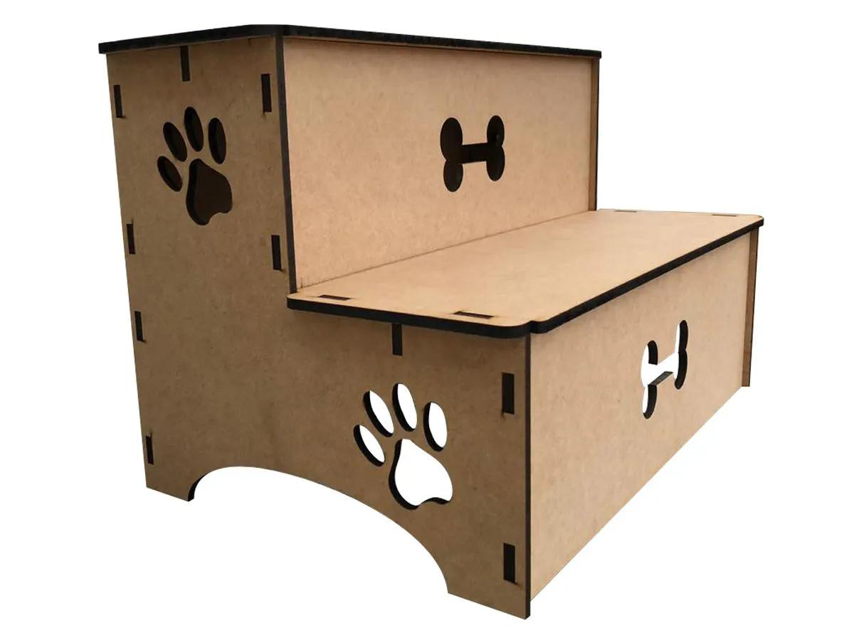 Escada Para Cachorro Pet Com 2 Degraus Em Mdf
