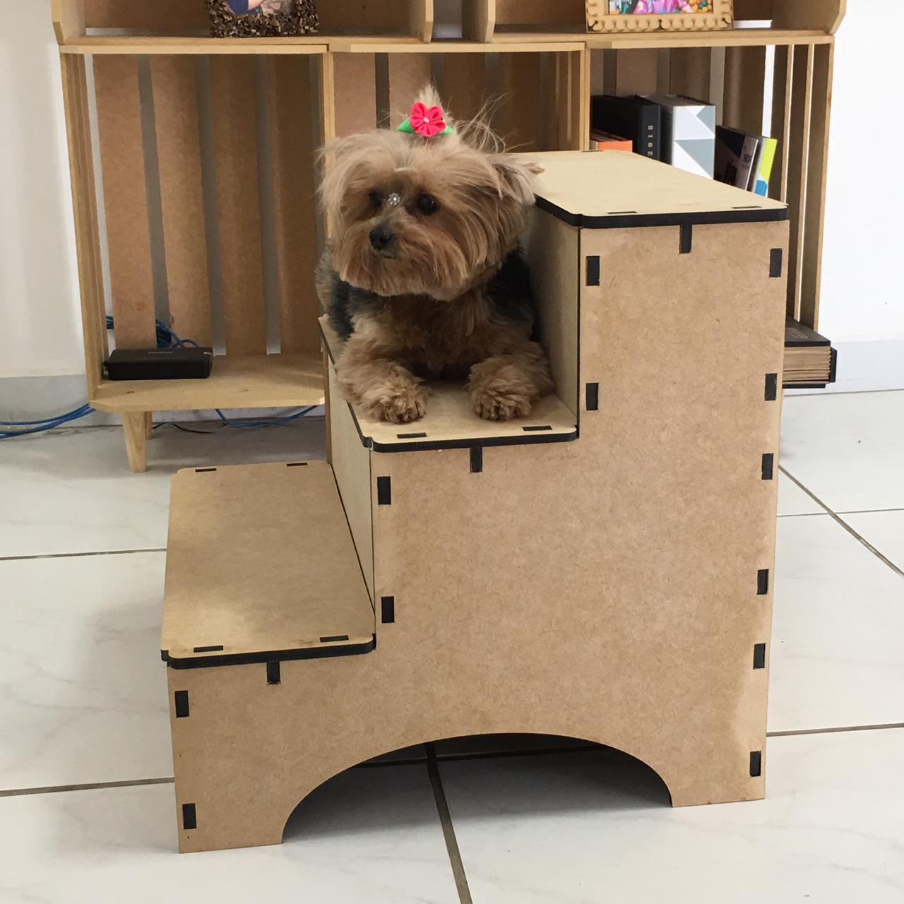 Escadinha Pet 3 Degraus Em Mdf Para Caes E Gatos
