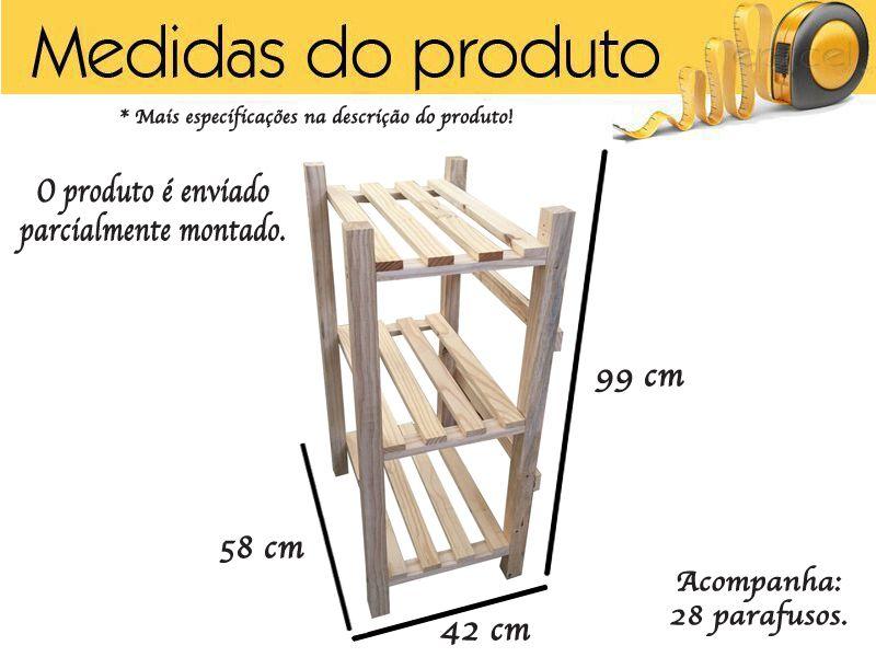 Estante Modulare 3 Prateleiras Madeira De Pinus Maciça