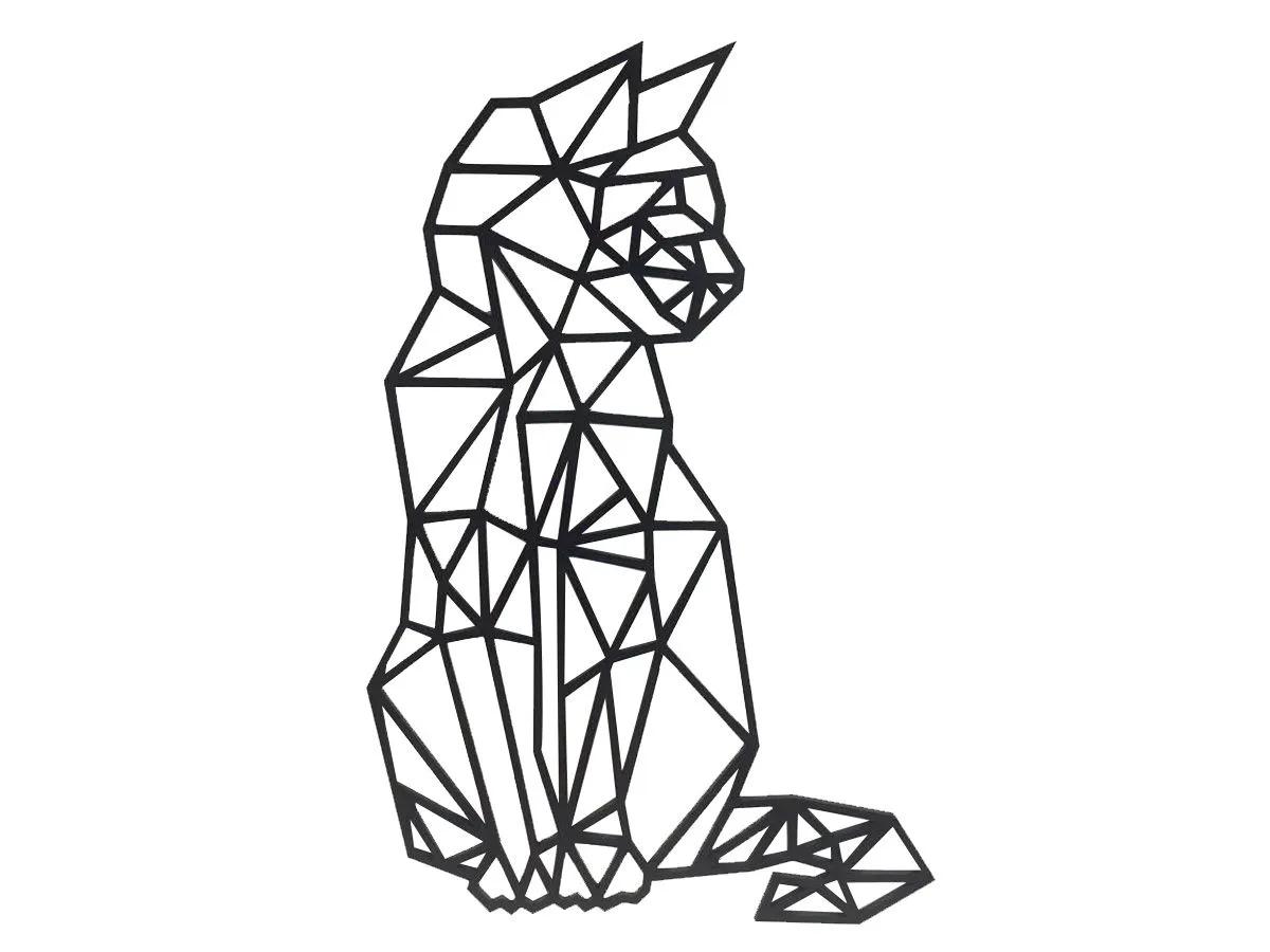 Gato Filhote Geométrico Decoração 60cm