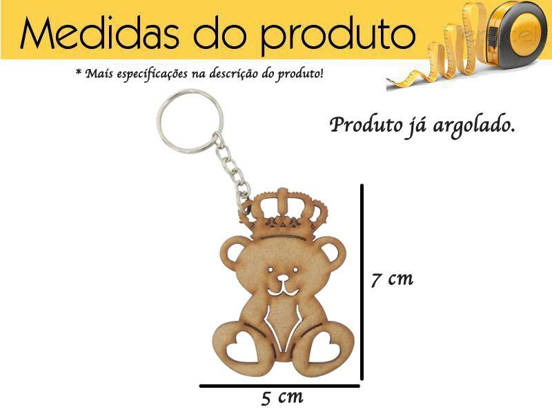 Kit 10 Chaveiros De Ursinho Mdf Cru Festa Ou Brinde Festa