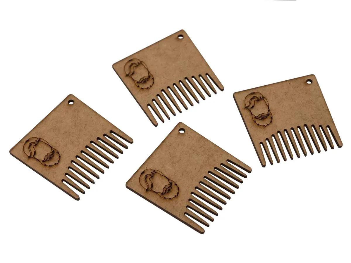 Kit 10 Pente Modelador Para Barba De Mdf Barbeiro