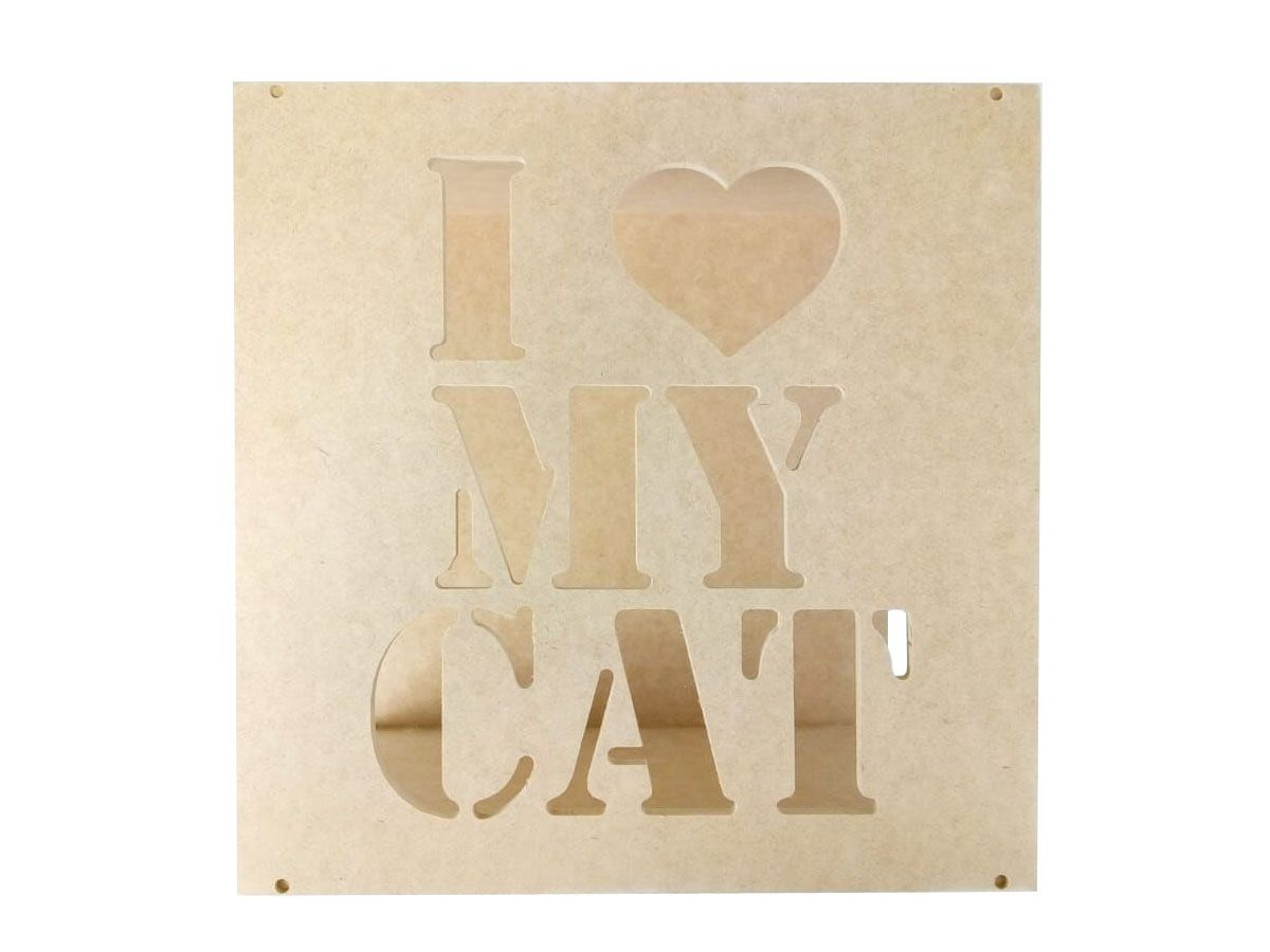 Kit 2 Nichos Mdf Cru I Love Cats + Brinde Para Gatos