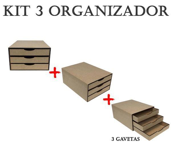 Kit 3 Gaveteiros para Folhas Sulfite com 3 Gavetas