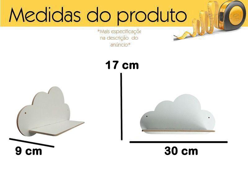 Kit 3 Prateleiras De Nuvem Mdf Decoração Quarto Bebê