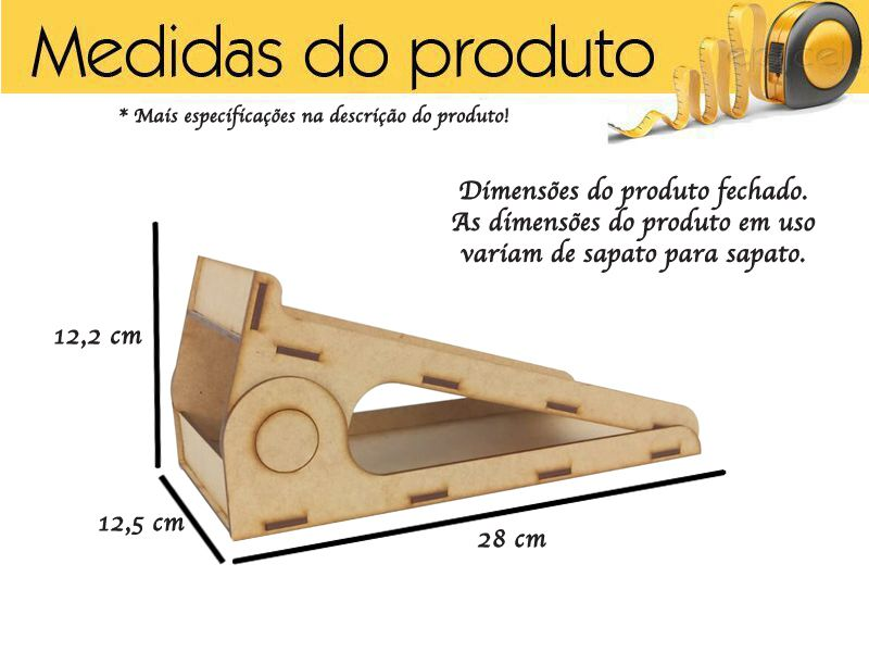 Kit 5 Suportes Para Sapatos Mdf Cru 3 Mm