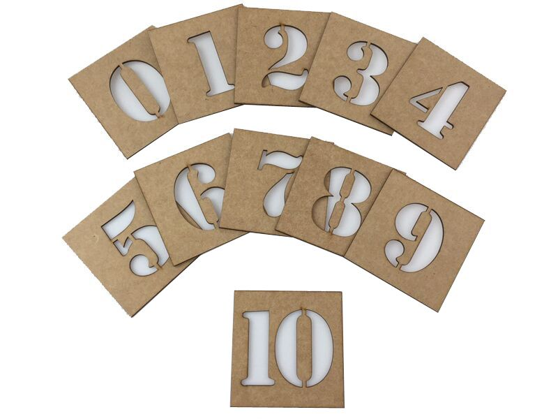 Kit Com 1 Stencil Números E 1 Stencil Letras
