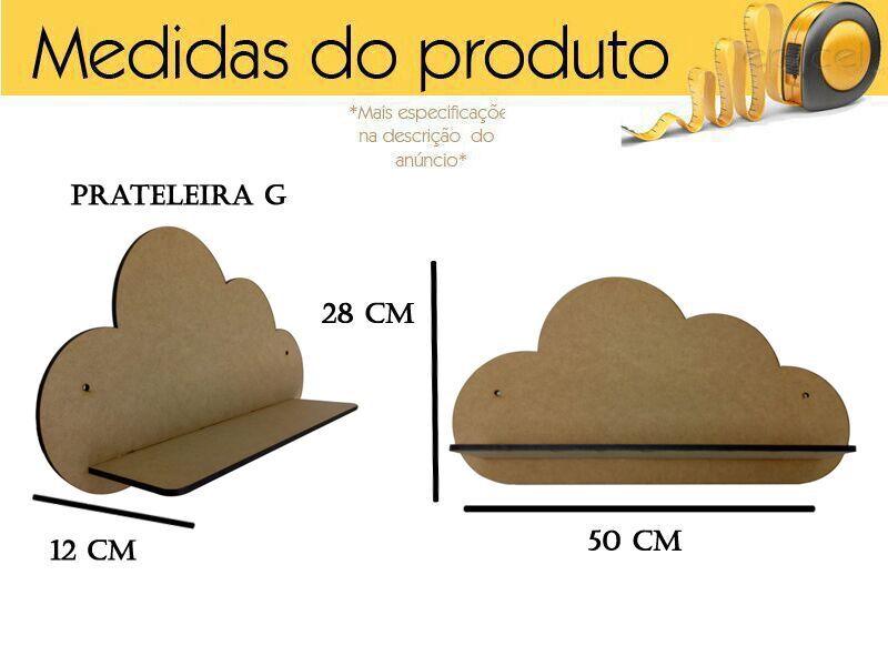 Kit De 3 Prateleiras De Nuvem Em Mdf Cru