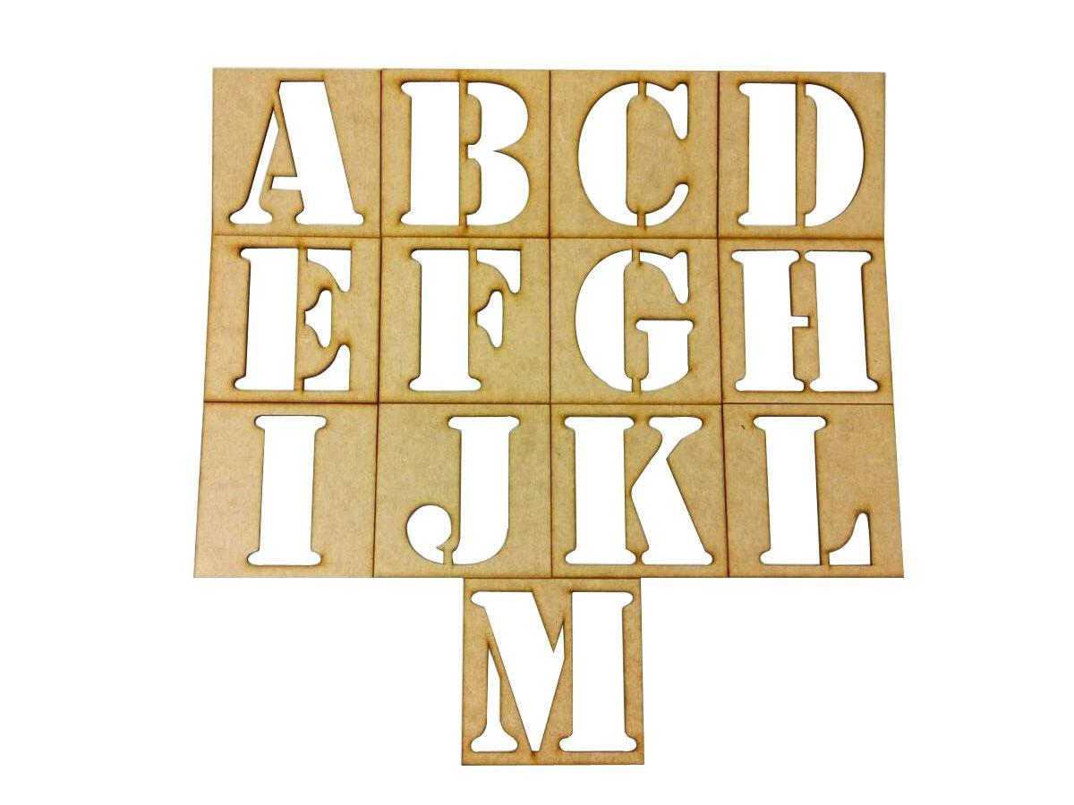 Kit Stencil Em Mdf Letras