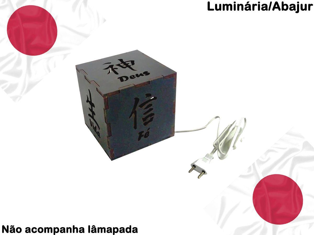 Luminária De Mesa Leitura Escritório Letras Japonesas