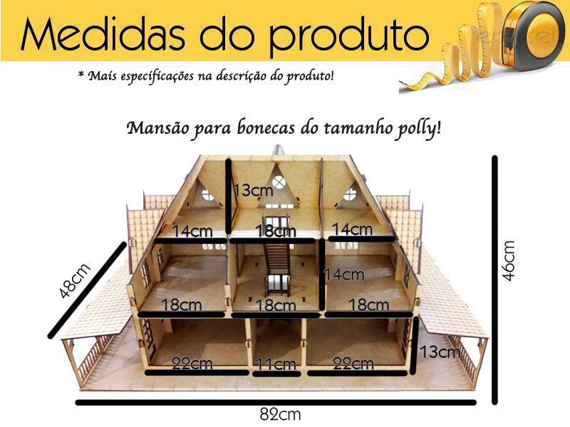 Mansão Casa Mdf Bonecas Polly E Barbie Pocket 3 Andares
