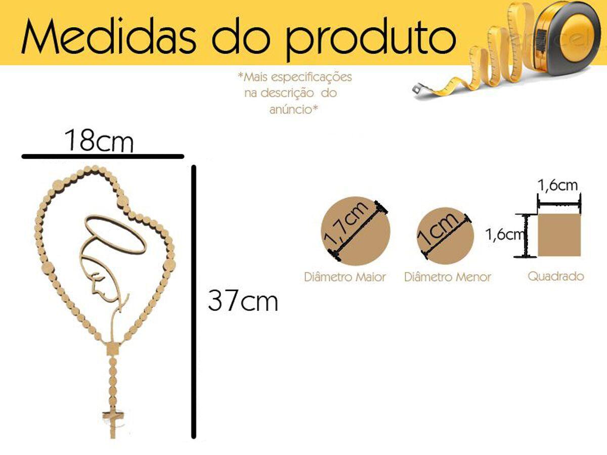 Placa Decorativa Terço Nossa Senhora Decoração Mdf Cru