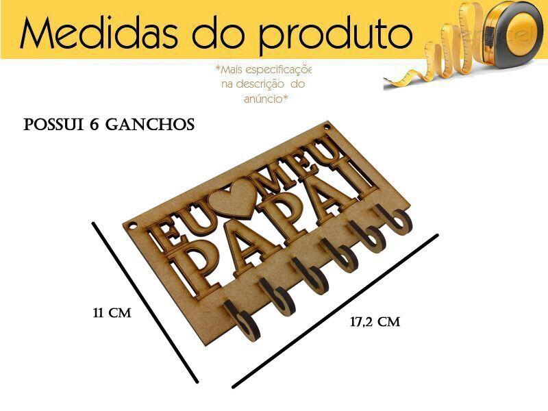 Porta Chaves Dia Dos Pais 6 Ganchos Lembrança Mdf
