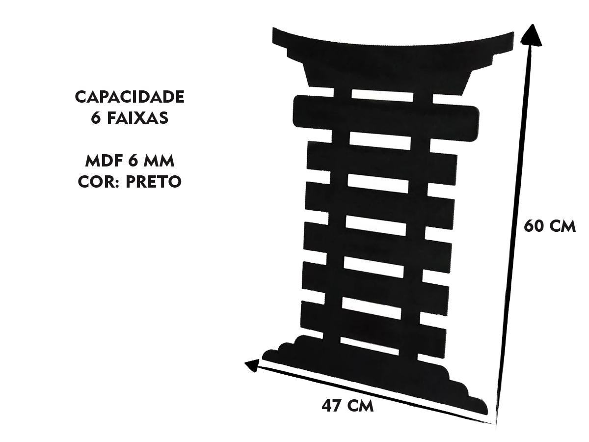 Porta Medalha Capoeira Para Até 6 Cordas Preto