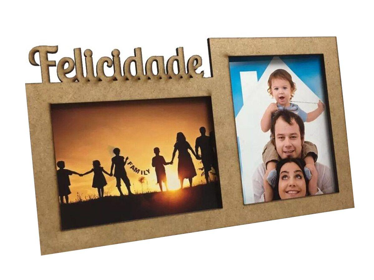 Porta Retrato Felicidade Em Mdf Decoração Sala 16 Unidades