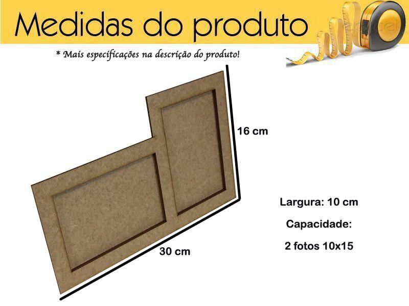 Porta Retrato Liso 2 Fotos 10x15 Mdf Kit 5 Unidades