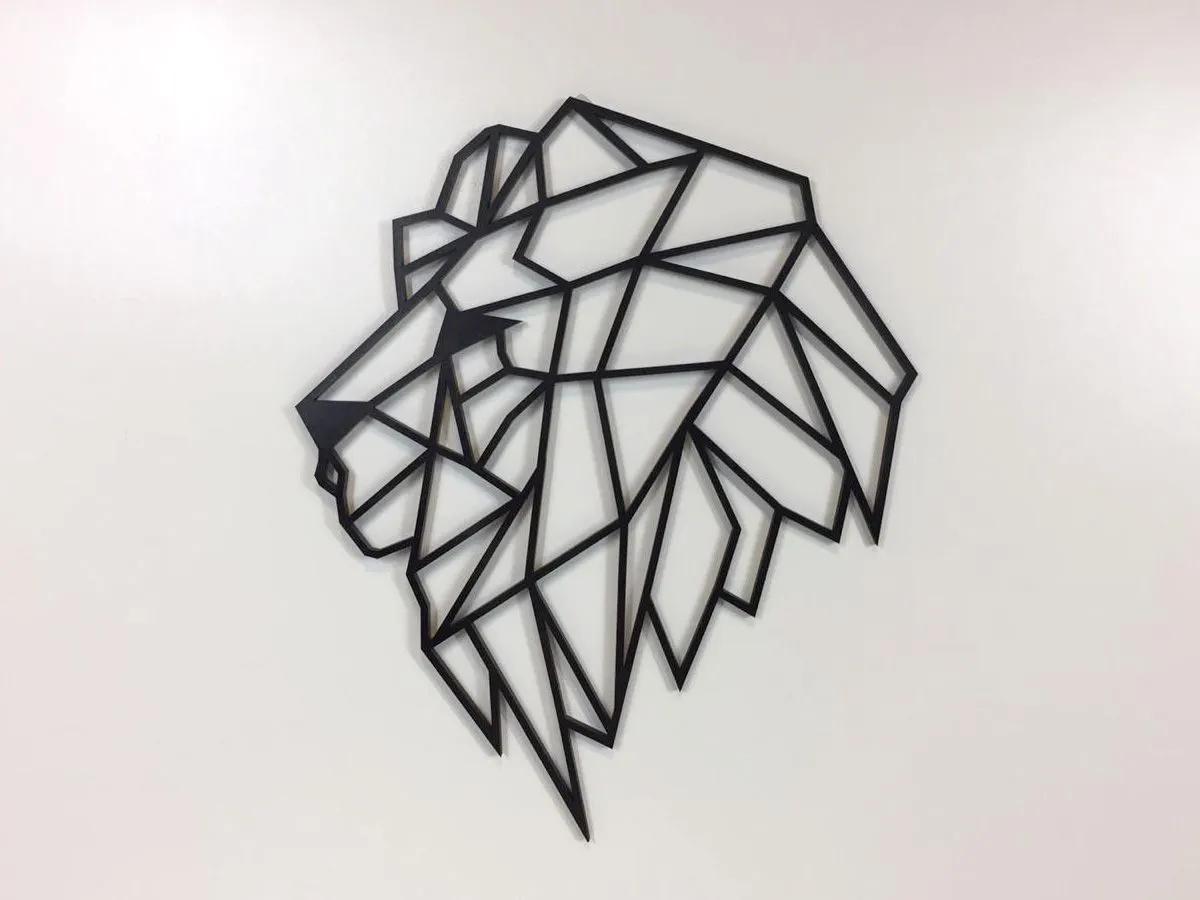 Quadro Leão Geométrico Pequeno Mdf Preto