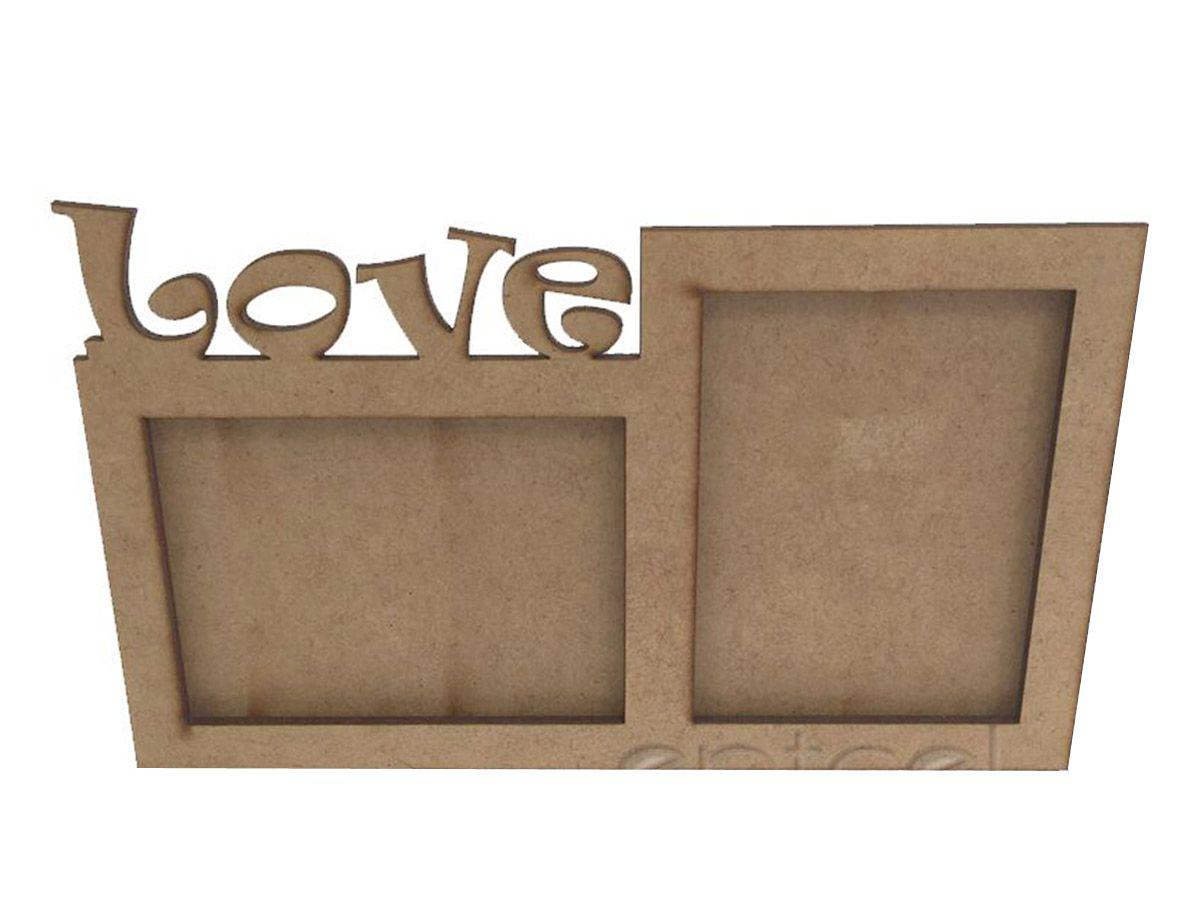 Quadro Te Amo Love Porta Retrato Duas Fotos Presente Kit 16 Unidades