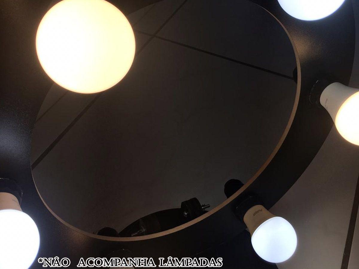 Ring Light Preto Em Mdf 6 Led Com Suporte De Mesa