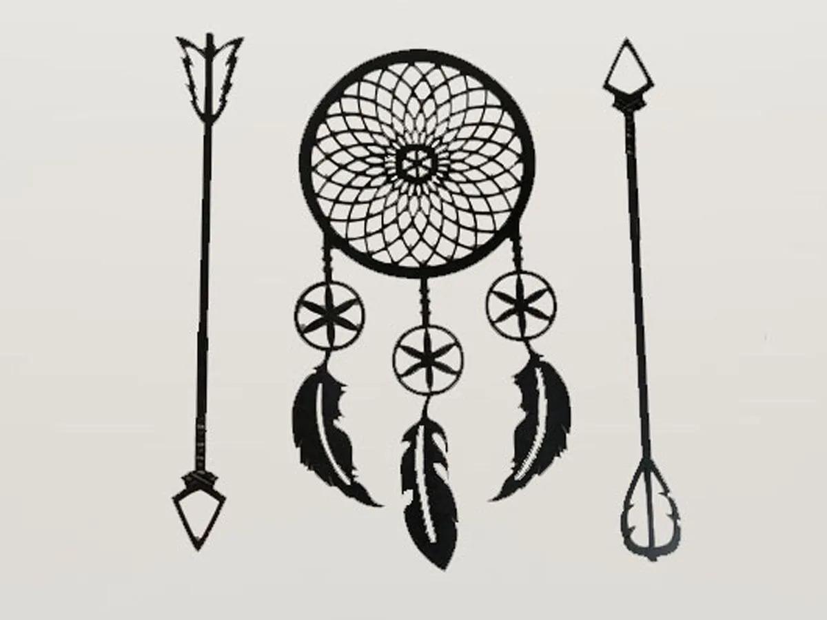 Trio De Quadros Mandala/Filtro dos Sonhos E Lanças Decorativo Parede Mdf