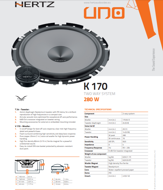 Kit Alto Falante Hertz 2 Vias K 170 ( 6 Pols / 140 Wrms )