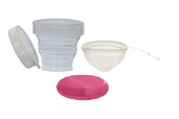 Kit Disco Menstrual Unique P 30ml + Copo Esterilizador + Porta Coletor