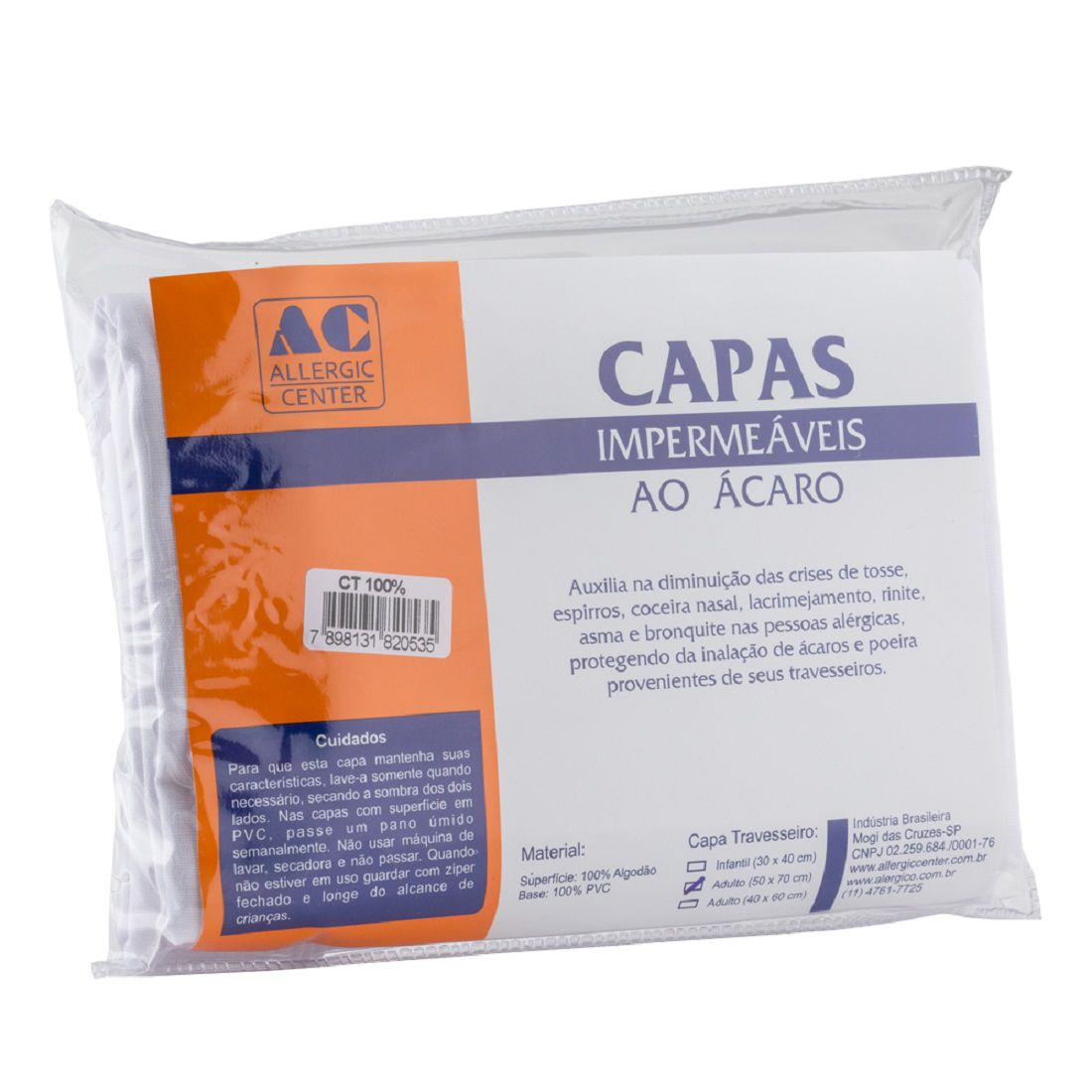 Capa Travesseiro Antiácaro 100% Algodão A.C. (50 x 70 cm)