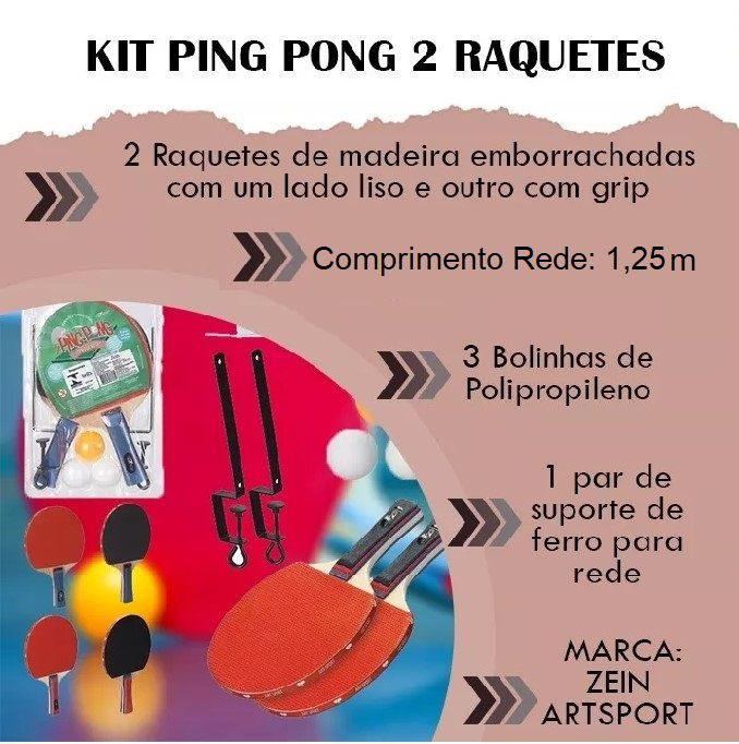 86a94a948 Kit Ping Pong 2 Raquetes + 3 Bolinhas + 1 Rede Profissional Tenis De Mesa -  Loja Catarinense