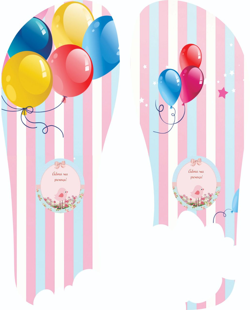 30 Quadrados de Borracha Top+ Estampado + Brinde de 30 pares de alças - Modelo Festa Infantil  - INBOP - Indústria de Borrachas e Polímeros