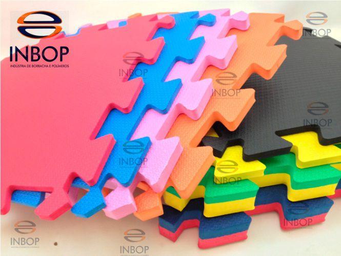 Fardo 08 Placas de Tatame 50cm x 50cm com Encaixe - Espessura de 15mm  - INBOP - Indústria de Borrachas e Polímeros