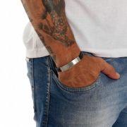 Bracelete Masculino De Silicone Com Símbolo Marajoara Em Aço