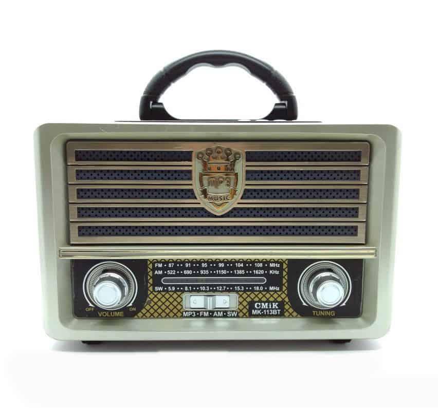 Caixa de Som Retro Rádio USB, AUX CMIK MK113