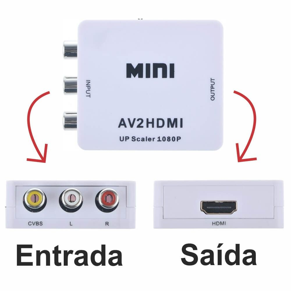 Mini Conversor Av2 x Hdmi 1080P Full HD