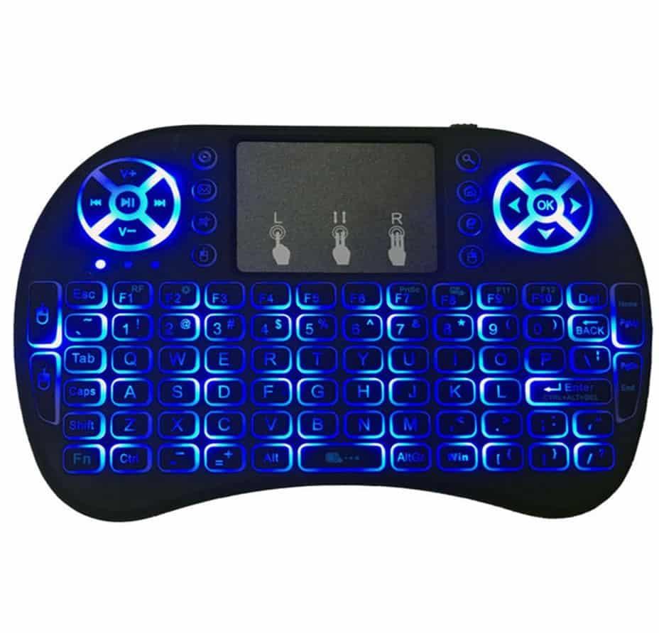 Mini Controle e Teclado Sem fio Keyboard para Smart Tv com Led