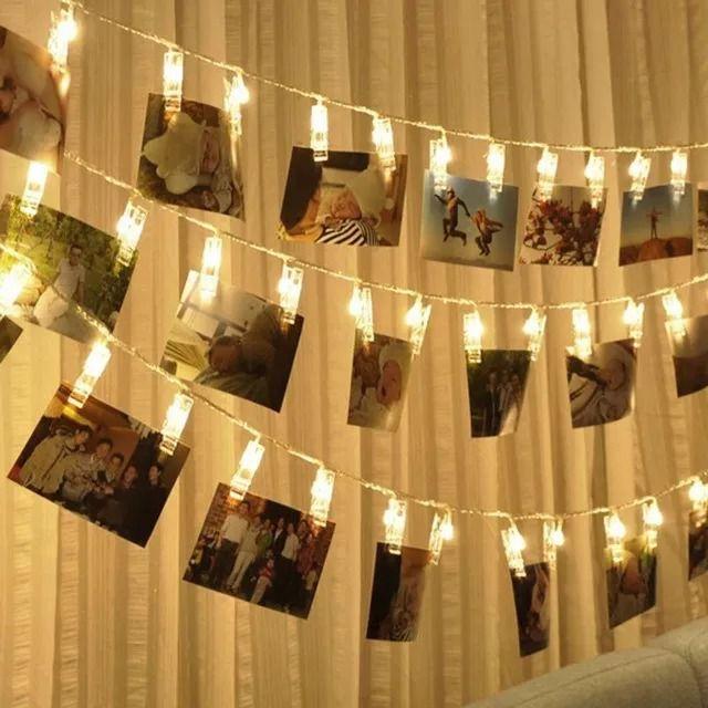 Varal de cordão com Pregador Luminoso Led para Foto