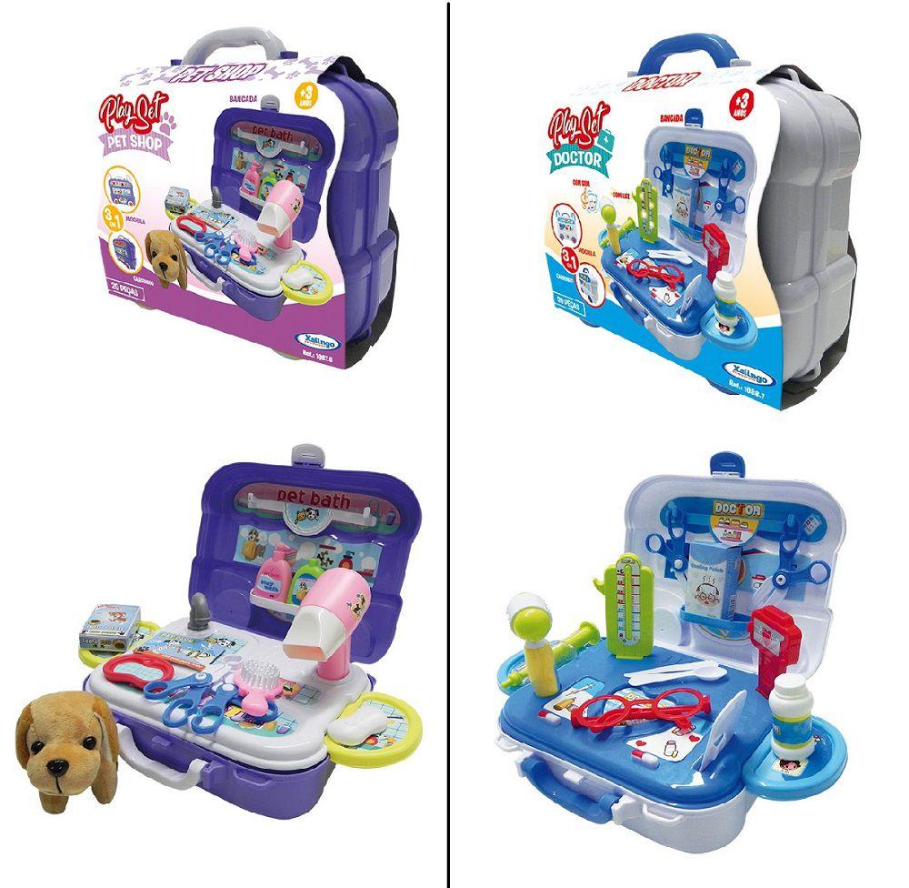 Play Set bancada/maleta Doctor ou Pet Shop Xalingo