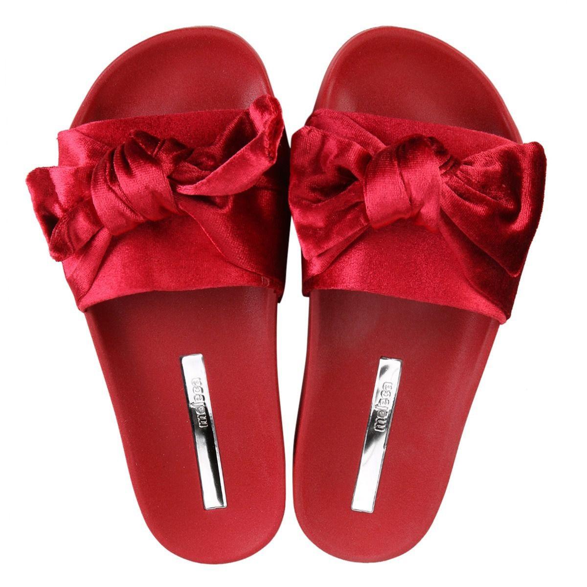 0234146e4 Chinelo Slide Feminino Moleca 5414 Laço Veludo Vermelho - Lojas Mendes