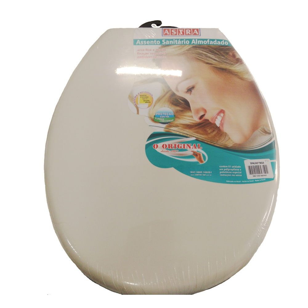 Assento tampa sanitário Almofadado Oval Bege 8  Astra