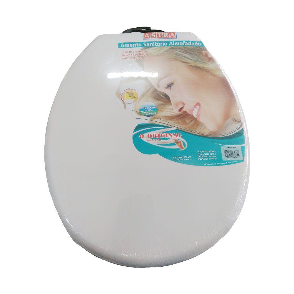 Assento  tampa sanitário Almofadado Oval Branco Astra