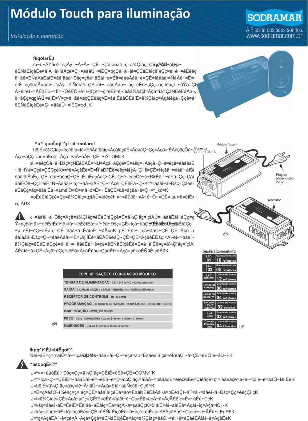 Controlador Touch Led Piscina Controle Remoto Sodramar
