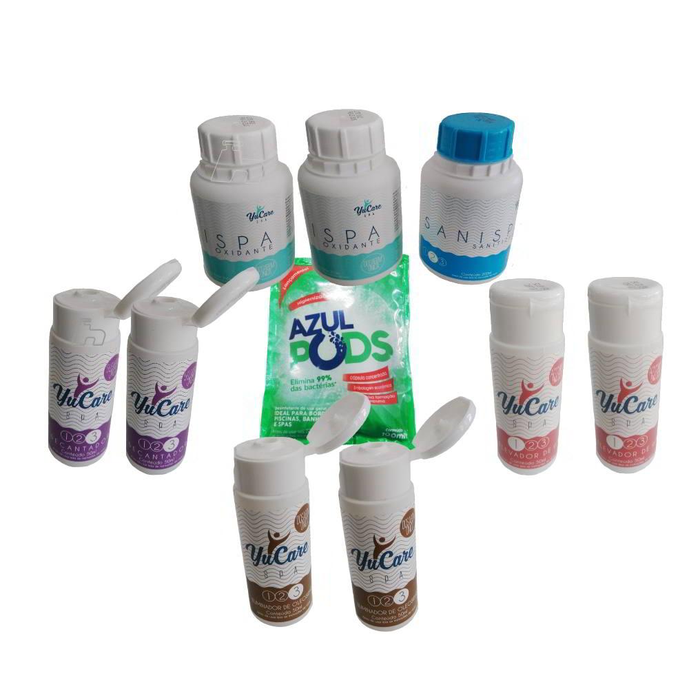 Kit Tratamento spa Sem Cloro elevador Ph Decantandor anti Oleosidade limpa Bordas- maresias