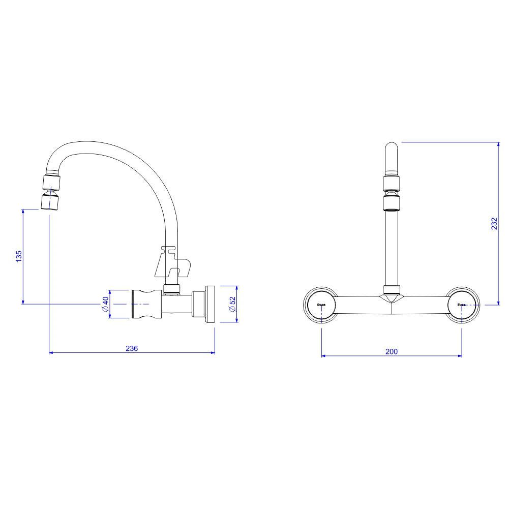 Misturador Parede 1258 C-35 Aspen -Deca