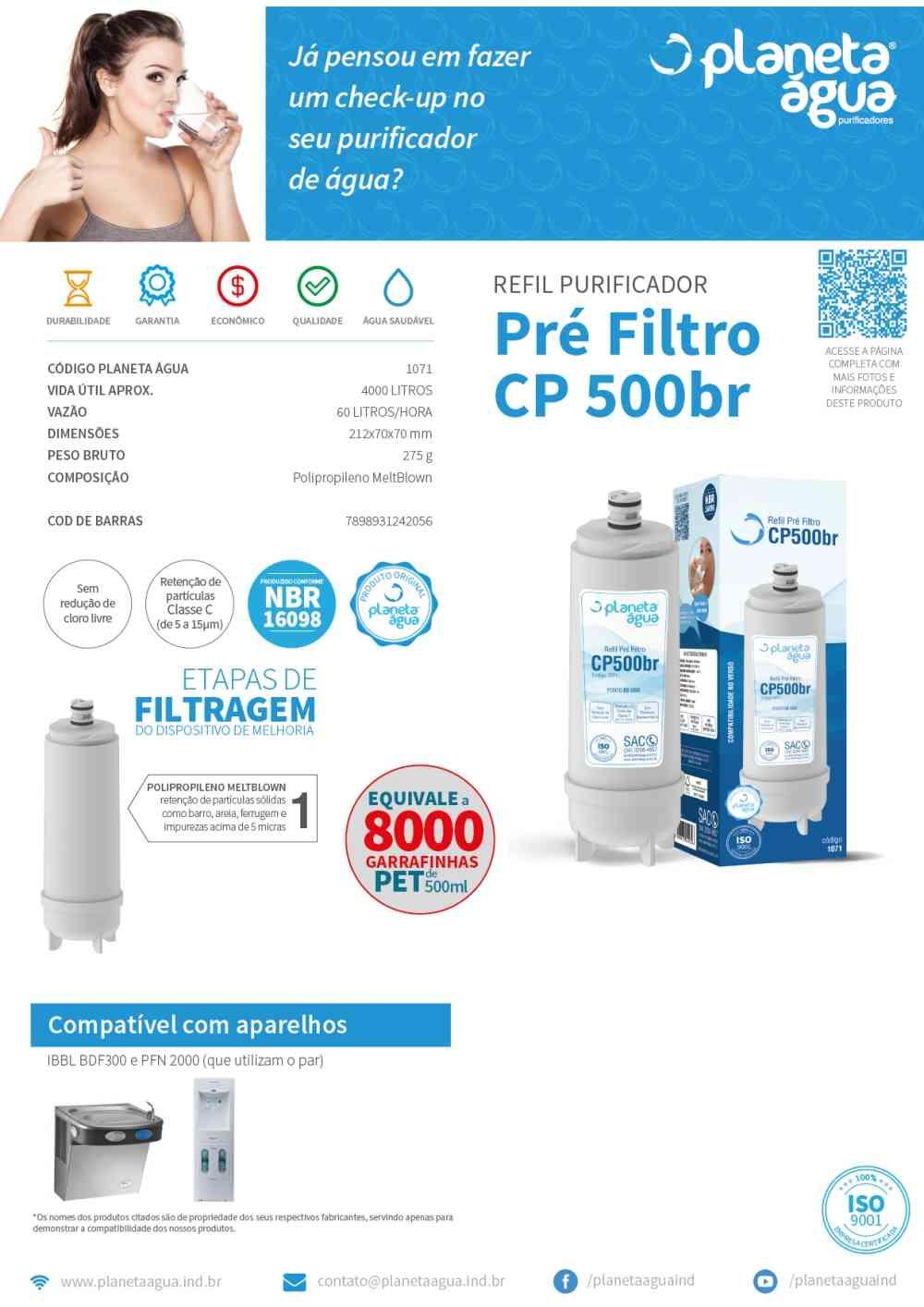 Refil CP500BR Pré Filtro Master Frio -Planeta água